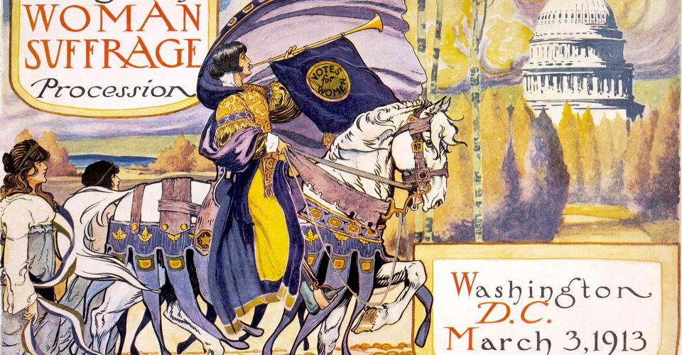 "Cover of program for the National American Women's Suffrage Association procession, showing woman, in elaborate attire, with cape, blowing long horn, from which is draped a ""votes for women"" banner, on decorated horse, with U.S. Capitol in background."