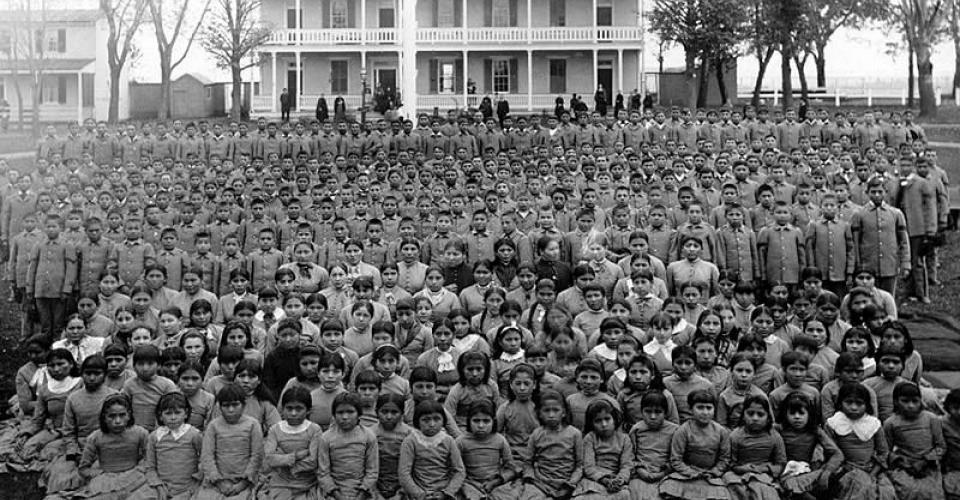 Photo of students attending the Carlisle Indian School