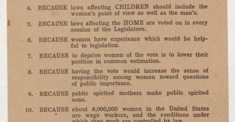 Image of 12 Reasons Women Should Vote Pamphlet