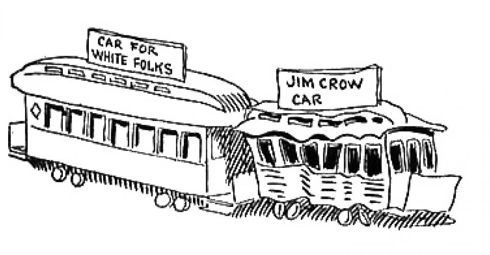 Political cartoon showing the inequalities in public transit under Jim Crow