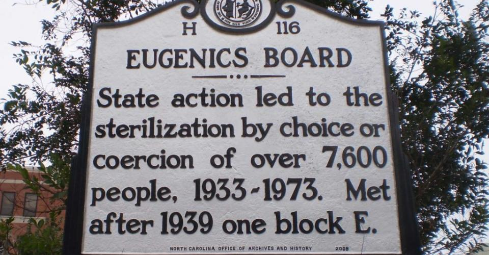 Image of NC Eugenics Board historical marker