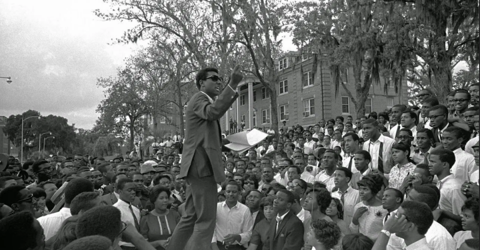 Picture of Stokley Carmichael speaking at a HBCU