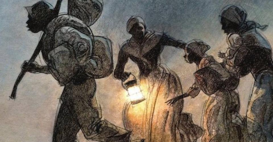Drawing of people escaping enslavement